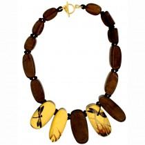 FRAGILE 15 BEAD NECKLACE. GOLD/BROWN