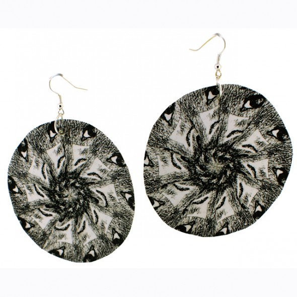 Sun Paper Earrings – Black/White Motif.