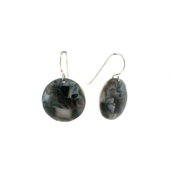 POSEIDON EARRINGS. SMALL ROUND. BLACK
