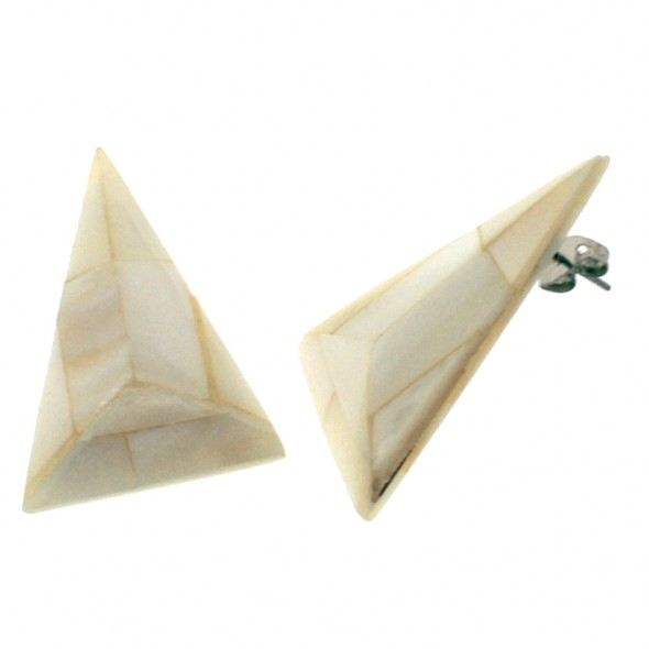 POSEIDON TRIANGLE EARRING. WHITE
