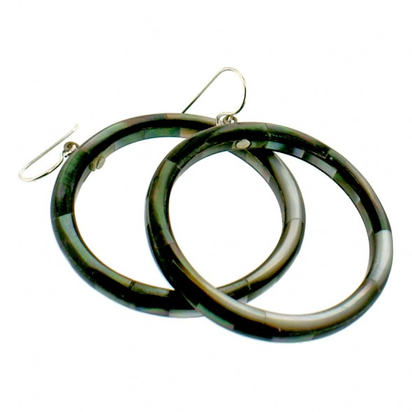 POSEIDON HOOP EARRINGS. BLACK