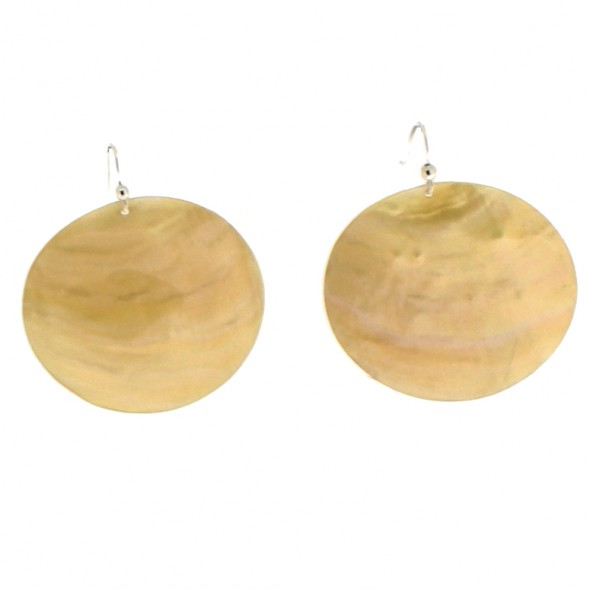 POSEIDON LARGE ROUND EARRINGS. OFF-WHITE