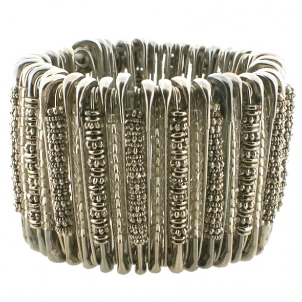 MEDIUM SAFETY PIN BRACELET. ANTIQUE SILVER