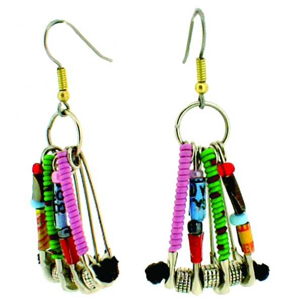 SAFETY PIN EARRINGSS ON HOOK.  MULTI COLOR