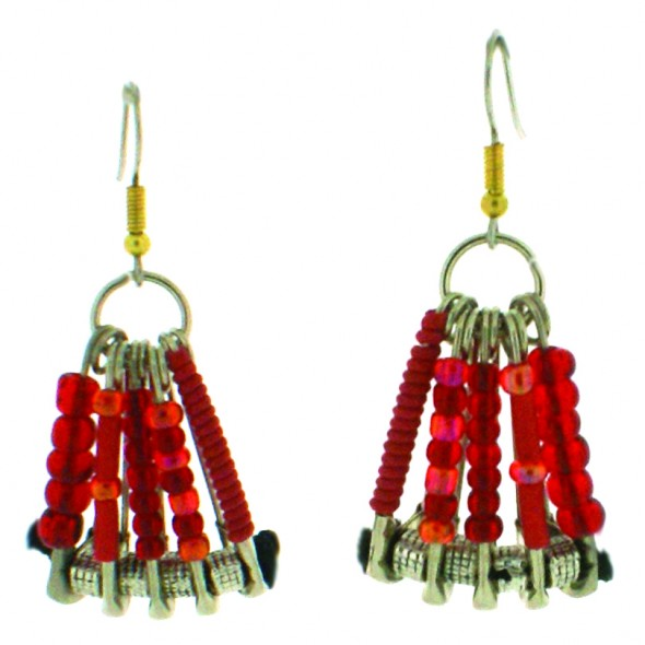SAFETY PIN EARRINGS.RED