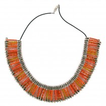 SAFETY PIN NECKLACE. ORANGE