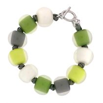 COLOR BALL BRACELET. GREEN/WHITE/GREY