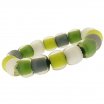 COLOR BALL ELASTIC BRACELET. GREEN/WHITE/GREY