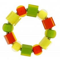 COLOR BALL & CUBE ELASTIC BRACELET.  CITRUS