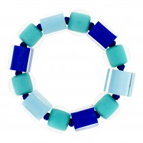 COLOR BALL & CUBE ELASTIC BRACELET. OCEAN