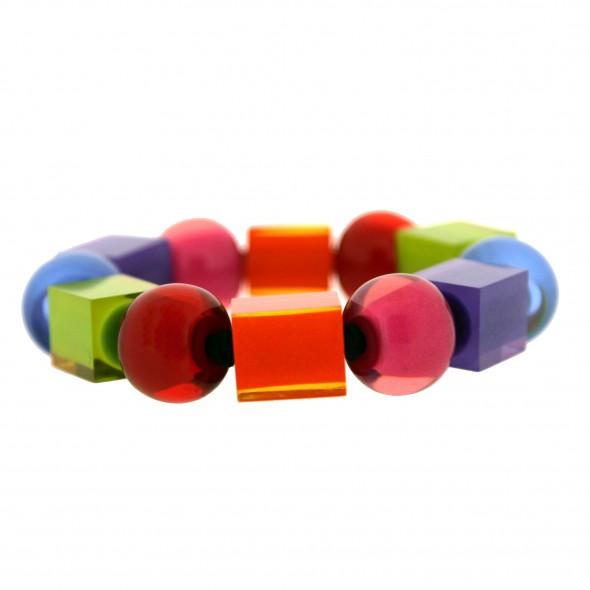 COLOR BALL & CUBE ELASTIC BRACELET.  SPECTRUM