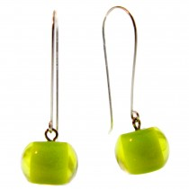 COLOR BALL EARRING. LIME