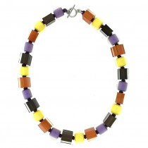 RUST/PURPLE CUBE & BALL NECKLACE.