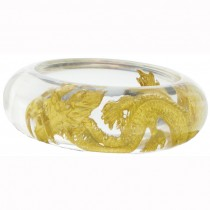 24 KT GOLD LEAF DRAGON BANGLE. CLEAR