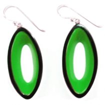 BLACKOUT HOOK EARRING WITH OVAL CUTOUT. GREEN