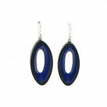 BLACKOUT HOOK EARRING WITH OVAL CUTOUT. BLUE
