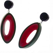 BLACKOUT POST EARRING WITH OVAL CUTOUT. RED