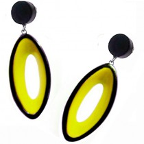 BLACKOUT POST EARRING WITH OVAL CUTOUT. YELLOW
