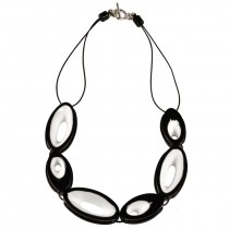 BLACKOUT NECKLACE.  WHITE