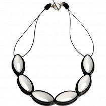 BLACKOUT NECKLACE WITH  OVAL CUTOUT  SHAPES.  WHITE