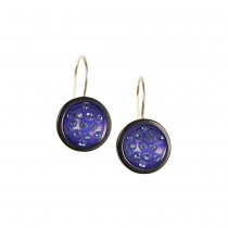 BLUE CANNONBALL SMALL HOOK EARRING WITH SWAROVSKI CRYSTALS.
