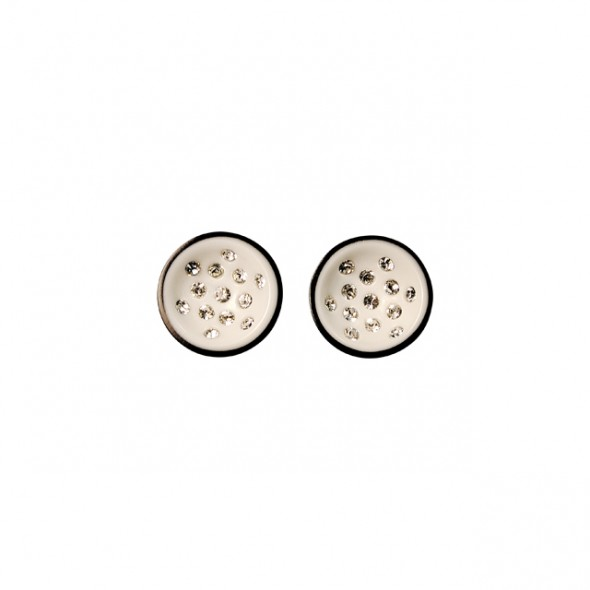 CANNONBALL SMALL POST EARRING. WHITE