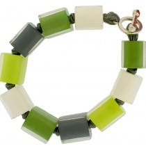 COLORS MEDIUM CUBE BRACELET. GREEN/WHITE/GREY