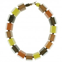 COLORS LARGE CUBE NECKLACE. RUST