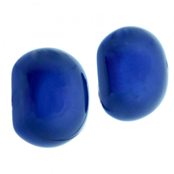 CLARITY DOMED EARRING.  BLUE