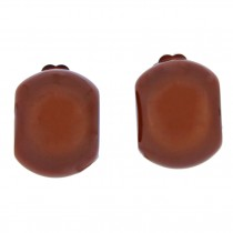 CLARITY DOMED EARRING. BROWN