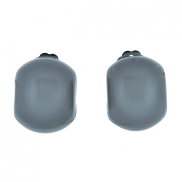 CLARITY DOMED EARRING. GREY