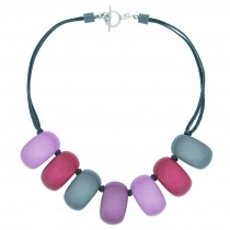 CLARITY 7 MEDIUM BEAD NECKLACE ON SATIN CORD.  PINK