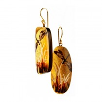 FRAGILE LARGE EARRING ON HOOK. GOLD