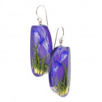 FRAGILE LARGE EARRING ON HOOK.  PURPLE