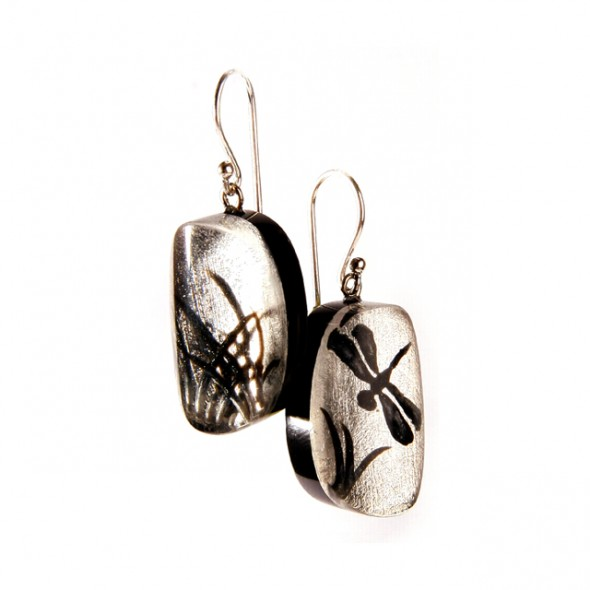 FRAGILE SMALL EARRING ON HOOK. SILVER