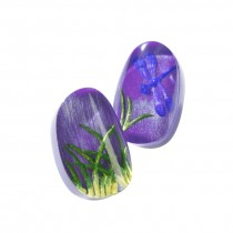 FRAGILE SMALL CLIP EARRING. PURPLE