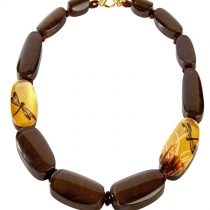 FRAGILE 12 BEAD NECKLACE. 24kt Gold leaf inlay