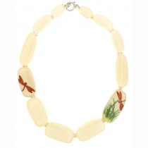 FRAGILE 12 BEAD NECKLACE. WHITE