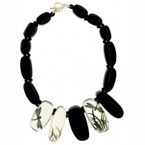 FRAGILE 15 BEAD RESIN NECKLACE. PURE SILVER LEAF INLAY