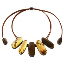 FRAGILE 5 BEAD NECKLACE. 24ktGOLD/BROWN