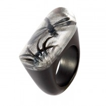 SILVER FRAGILE OVAL RING.