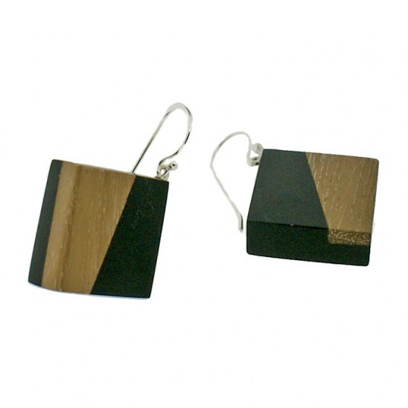 FUZION  LARGE TILE ON SILVER HOOK EARRING . BLACK.