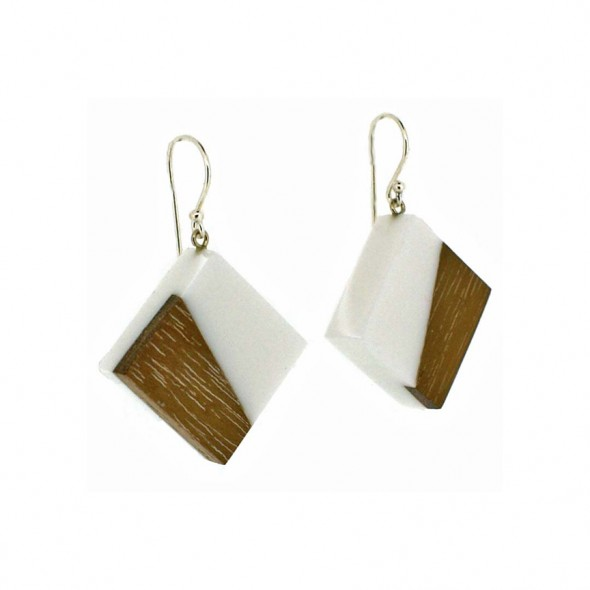 FUZION  LARGE TILE ON SILVER HOOK EARRING . WHITE