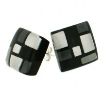 HOMAGE SMALL SQUARE POST EARRING. GREYS