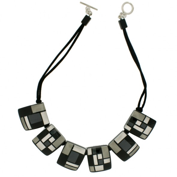 HOMAGE 6 BEAD NECKLACE. GREYS