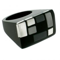HOMAGE SMALL RECTANGULAR  RING. GREYS