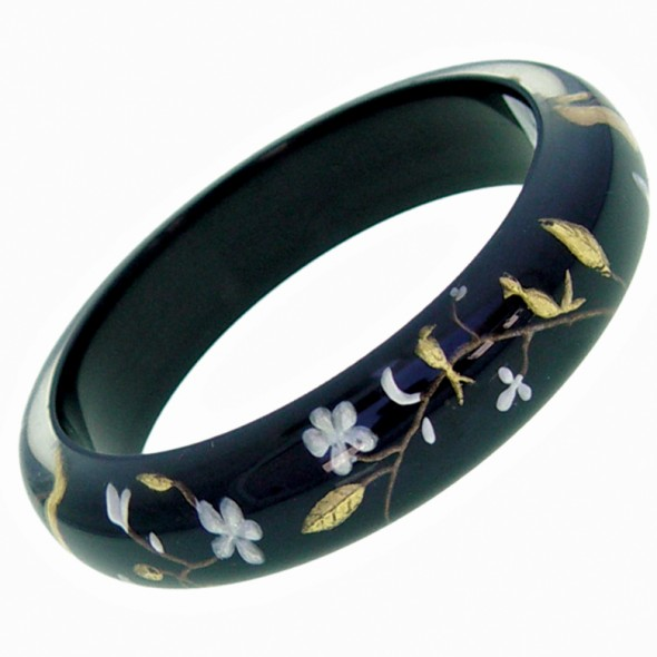 HANAMI THIN BANGLE. BLACK