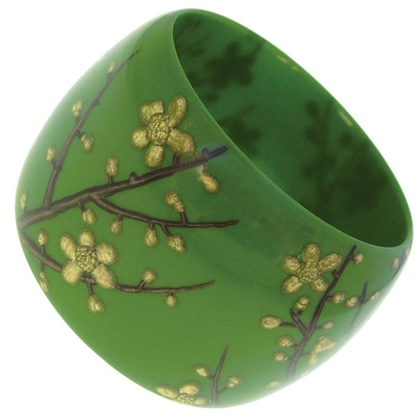 HANAMI  BLOSSOMS WIDE BANGLE.OLIVE