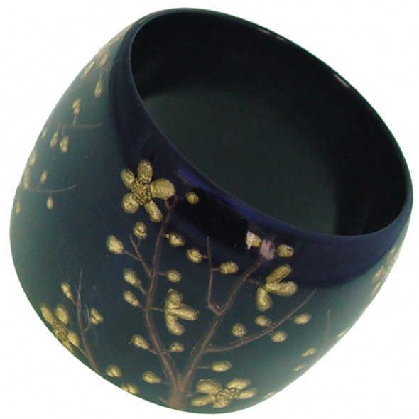 HANAMI WIDE BANGLE. BLACK