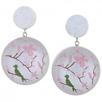 HANAMI EARRINGS.  SILVER/PINK